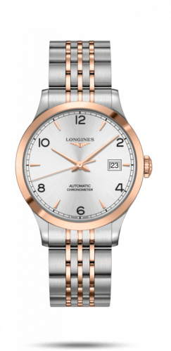 Longines L2.820.5.76.7 : Record 38.5mm Stainless Steel / Pink Gold / Silver-Arabic / Bracelet