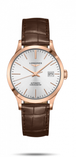Longines L2.820.8.72.2 : Record 38.5mm Pink Gold / Silver / Alligator
