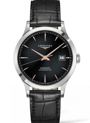 Longines L2.821.4.59.2 : Record 40mm Stainless Steel / Black / Alligator / Russia