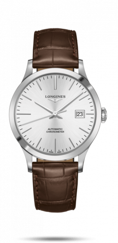 Longines L2.821.4.72.2 : Record 40mm Stainless Steel / Silver / Alligator