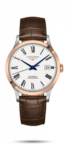 Longines L2.821.5.11.2 : Record 40mm Stainless Steel / Pink Gold / White-Roman / Alligator