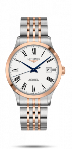 Longines L2.821.5.11.7 : Record 40mm Stainless Steel / Pink Gold / White-Roman / Bracelet