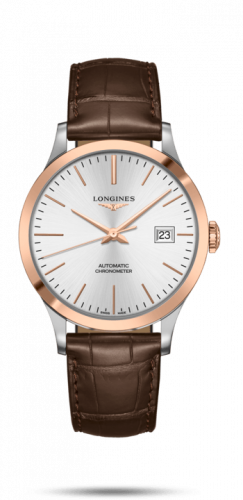 Longines L2.821.5.72.2 : Record 40mm Stainless Steel / Pink Gold / Silver / Alligator