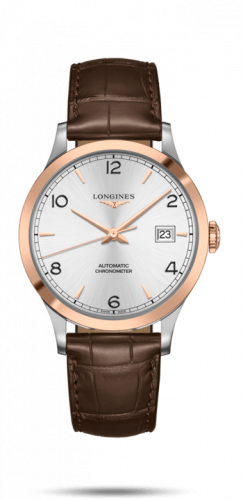 Longines L2.821.5.76.2 : Record 40mm Stainless Steel / Pink Gold / Silver-Arabic / Alligator