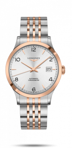 Longines L2.821.5.76.7 : Record 40mm Stainless Steel / Pink Gold / Silver-Arabic / Bracelet