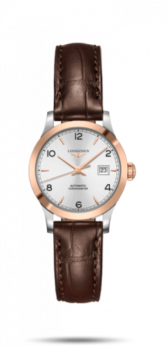 Longines L2.321.5.76.2 : Record 30mm Stainless Steel / Pink Gold / Silver-Arabic / Alligator