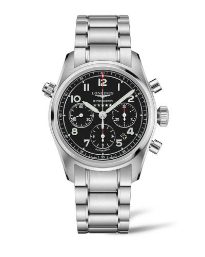 L3.820.4.53.6 : Longines Spirit Chronograph 42 Black / Bracelet