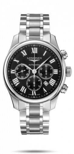 Longines L2.859.4.51.6 : Master Collection 44 Chronograph Stainless Steel / Black-Roman / Bracelet