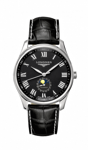 Longines L2.919.4.51.7 : Master Collection 42 Moonphase Stainless Steel / Black-Roman / Alligator