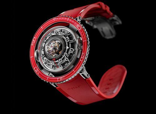 70.PBL.B : MB&F Horological Machine N°7 Aquapod Platinum / Red