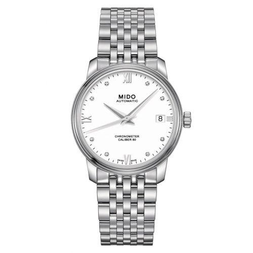 Mido M027.208.11.016.00 : Baroncelli Chronometer Lady Stainless Steel / White / Bracelet