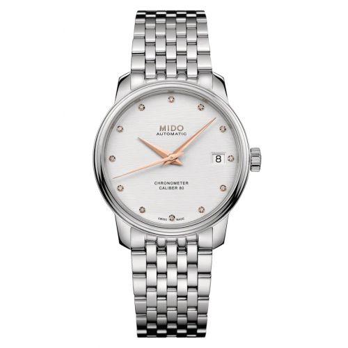 Mido M027.208.11.036.00 : Baroncelli Chronometer Lady Stainless Steel / Silver / Bracelet