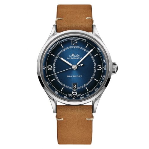 Mido M040.407.16.040.00 : Multifort Patrimony Stainless Steel / Blue