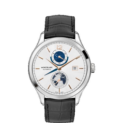 Montblanc 113779 : Heritage Chronométrie Dual Time Stainless Steel / Silver / Vasco Da Gama Special Edition