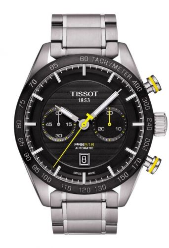T100.427.11.051.00 : Tissot PRS 516 Automatic Chronograph 45 Stainless Steel / Black / Bracelet