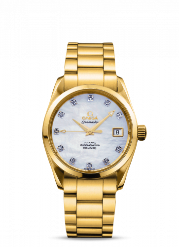 2104.75.00 : Omega Seamaster Aqua Terra 150M Co-Axial 36.2 Yellow Gold / Diamond / MOP / Bracelet