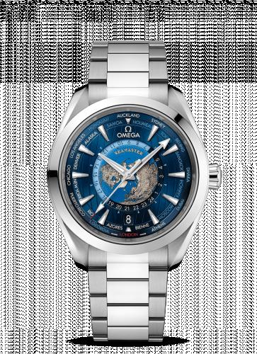 220.10.43.22.03.001 : Omega Seamaster Aqua Terra 150M Master Chronometer 43 Worldtimer Stainless Steel / Blue / Bracelet