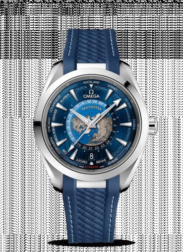 220.12.43.22.03.001 : Omega Seamaster Aqua Terra 150M Master Chronometer 43 Worldtimer Stainless Steel / Blue / Rubber