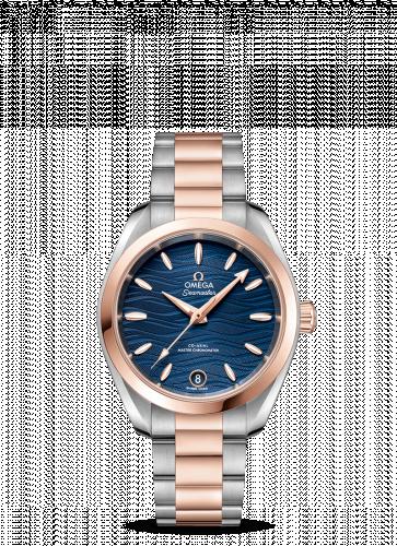 220.20.34.20.03.001 : Omega Seamaster Aqua Terra 150M Master Chronometer 34 Stainless Steel / Sedna Gold / Blue-Waves / Bracelet