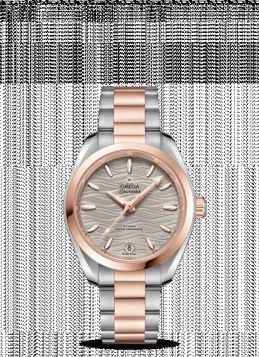 220.20.34.20.06.001 : Omega Seamaster Aqua Terra 150M Master Chronometer 34 Stainless Steel / Sedna Gold / Grey-Waves / Bracelet