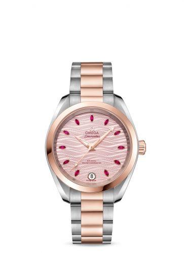 Omega 220.20.34.20.60.001 : Seamaster Aqua Terra 150M Master Chronometer 34 Stainless Steel / Sedna Gold / Pink - Ruby / Bracelet