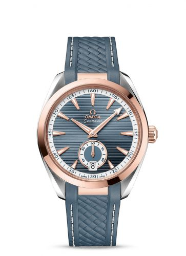 Omega 220.22.41.21.03.001 : Seamaster Aqua Terra 150M Master Chronometer Small Seconds 41 Stainless Steel / Sedna Gold / Blue / Rubber
