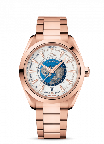 220.50.43.22.02.001 : Omega Seamaster Aqua Terra 150M Master Chronometer 43 Worldtimer Sedna Gold / Silver / Bracelet