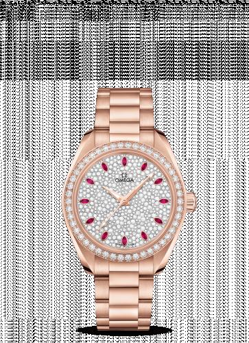 220.55.34.20.99.001 : Omega Seamaster Aqua Terra 150M Master Chronometer 34 Sedna Gold / Diamond / Snow Ruby / Bracelet