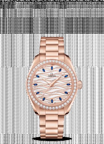220.55.34.20.99.005 : Omega Seamaster Aqua Terra 150M Master Chronometer 34 Sedna Gold / Diamond / Wave Sapphire / Bracelet