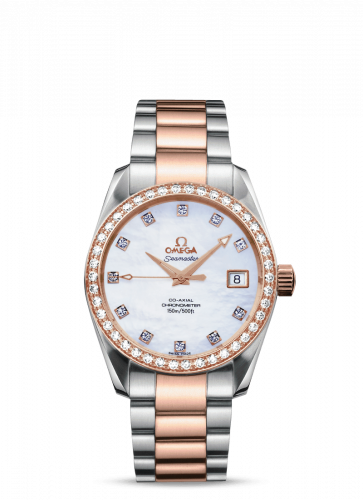 2309.75.00 : Omega Seamaster Aqua Terra 150M Co-Axial 36.2 Stainless Steel / Red Gold / Diamond / MOP / Bracelet