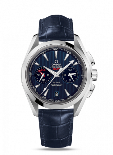 231.13.43.52.03.001 : Omega Seamaster Aqua Terra 150M Co-Axial 43 GMT Chronograph Stainless Steel / Blue