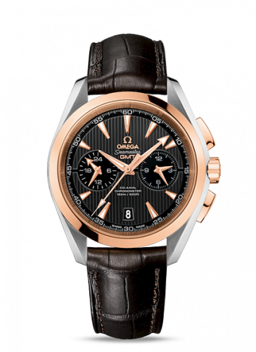 231.23.43.52.06.001 : Omega Seamaster Aqua Terra 150M Co-Axial 43 GMT Chronograph Stainless Steel / Red Gold / Grey