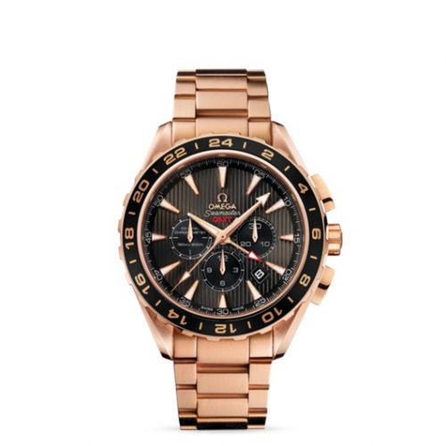 231.50.44.52.06.001 : Omega Seamaster Aqua Terra 150M Co-Axial 44 GMT Chronograph Red Gold / Grey / Bracelet