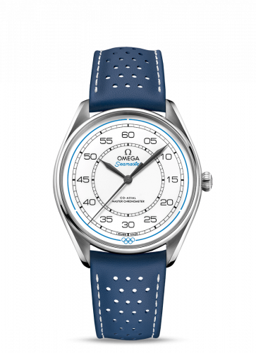 Omega 522.32.40.20.04.001 : Seamaster Master Co-Axial 39.5 Olympic Timekeeper Stainless Steel / White / Blue
