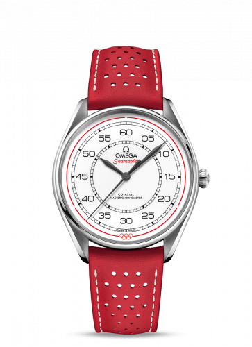 Omega 522.32.40.20.04.004 : Seamaster Master Co-Axial 39.5 Olympic Timekeeper Stainless Steel / White / Red