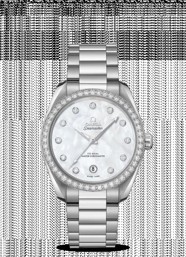 Omega 220.15.38.20.55.001 : Seamaster Aqua Terra 150M Master Chronometer 38 Stainless Steel / Diamond / MOP / Bracelet