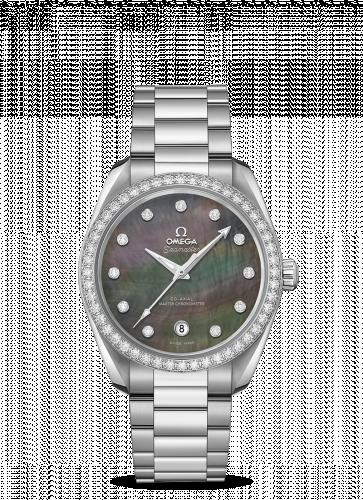 Omega 220.15.38.20.57.001 : Seamaster Aqua Terra 150M Master Chronometer 38 Stainless Steel / Diamond / Grey MOP / Bracelet