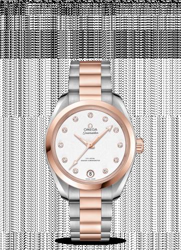 220.20.34.20.52.001 : Omega Seamaster Aqua Terra 150M Master Chronometer 34 Stainless Steel / Sedna Gold / Silver / Bracelet