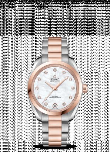 Omega 220.20.34.20.55.001 : Seamaster Aqua Terra 150M Master Chronometer 34 Stainless Steel / Sedna Gold / MOP / Bracelet