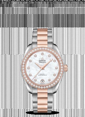 Omega 220.25.34.20.55.001 : Seamaster Aqua Terra 150M Master Chronometer 34 Stainless Steel / Sedna Gold / Diamond / MOP / Bracelet