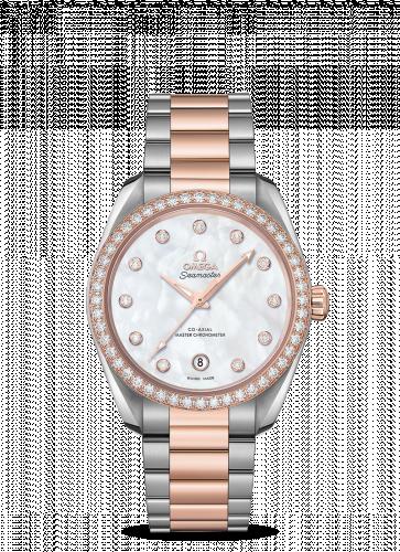 Omega 220.25.38.20.55.001 : Seamaster Aqua Terra 150M Master Chronometer 38 Stainless Steel / Sedna Gold / Diamond / MOP / Bracelet
