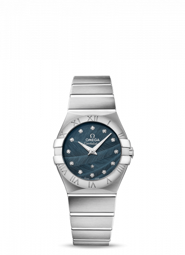 Omega 123.10.27.60.53.001 : Constellation Quartz 27 Brushed Stainless Steel / Blue Feather