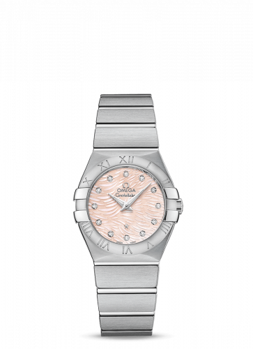 Omega 123.10.27.60.57.002 : Constellation Quartz 27 Brushed Stainless Steel / Pink / MOP