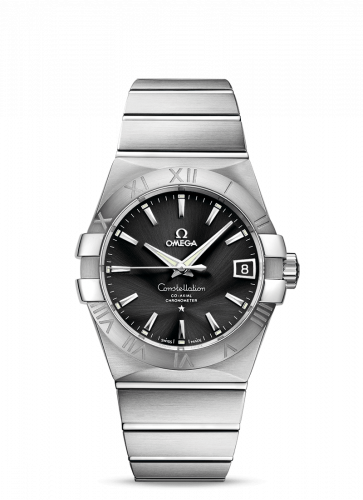 Omega 123.10.38.21.01.001 : Constellation Co-Axial 38 Stainless Steel / Black