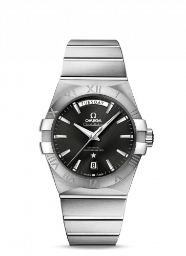 123.10.38.22.01.001 : Omega Constellation Co-Axial 38 Day-Date Stainless Steel / Black