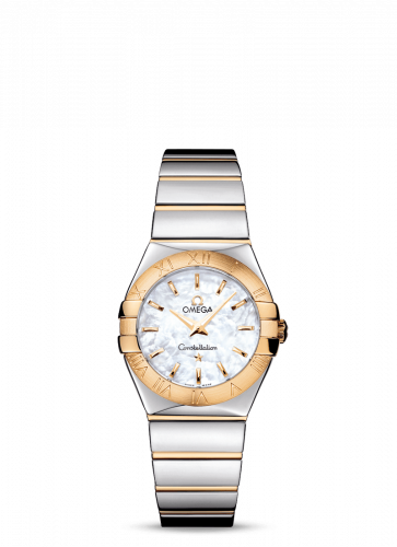 Omega 123.20.27.60.05.004 : Constellation Quartz 27 Polished Stainless Steel / Yellow Gold / MOP