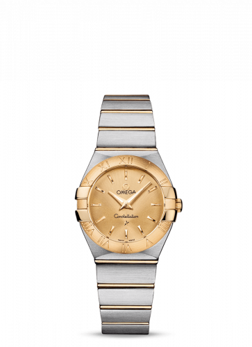 Omega 123.20.27.60.08.001 : Constellation Quartz 27 Brushed Stainless Steel / Yellow Gold / Champagne