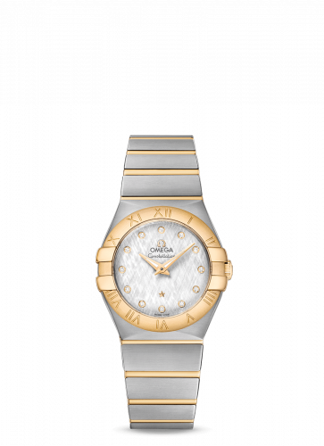 Omega 123.20.27.60.52.001 : Constellation Quartz 27 Brushed Stainless Steel / Yellow Gold / Silver Silk