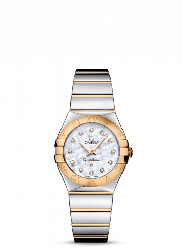 Omega 123.20.27.60.55.004 : Constellation Quartz 27 Polished Stainless Steel / Yellow Gold / MOP