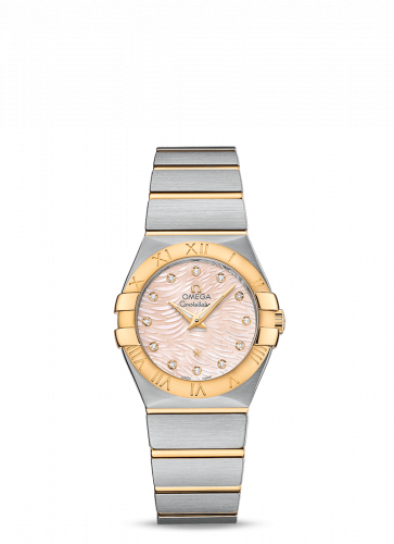 Omega 123.20.27.60.57.005 : Constellation Quartz 27 Brushed Stainless Steel / Yellow Gold / Pink MOP